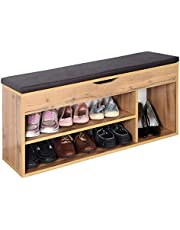 RICOO WM034-EW-B, Banco Zapatero, 104x49x30cm, Armario Interior con Asiento, Organizador Zapatos, Mueble recibidor, Perchero, Madera Roble marrón