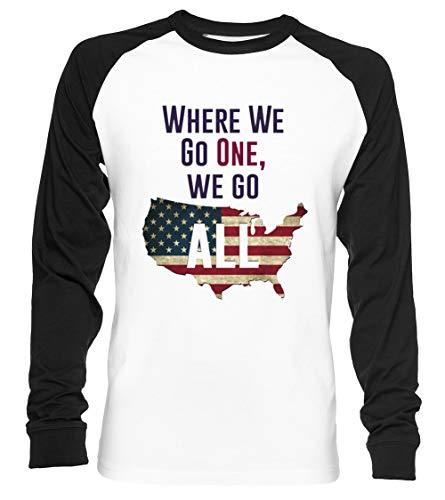 Where We Go One, We Go All - Qanon Unisex Baseball T-Shirt Langarm Herren Damen Weiß Schwarz