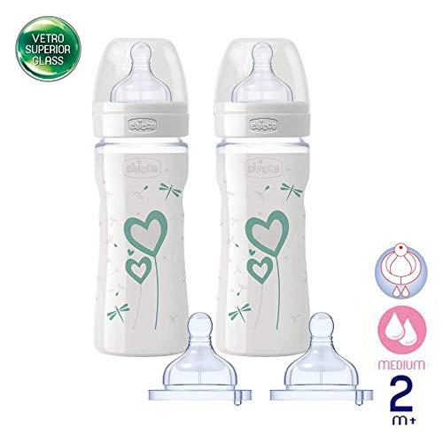 Chicco Glas Flaschen Set // Babyfläschchen Well-Being Glas // SUPERIOR GLAS //