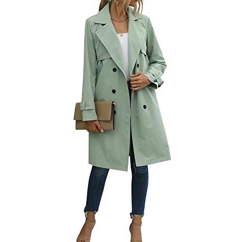 N /C Zweireihiger Trenchcoat für Damen Klassischer Umhangkragenmantel Dünner Oberbekleidungsmantel mit Gürtel (Grün, M)