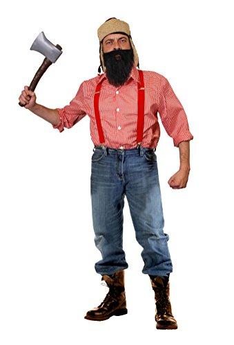 I LOVE FANCY DRESS LTD HOLZFÄLLER-Hillbilly-Lumberjack=KOSTÜM VERKLEIDUNG Halloween Fasching Karneval=BEINHALTET-Kariertes Hemd+BART+HOSENTRÄGER+MÜTZE+AXT-XXLarge