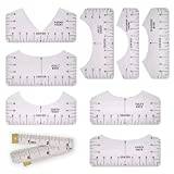 Set of 9 Tshirt Ruler Guide for Vinyl Alignment, Muulaii T Shirt Rulers to Center Designs, T-Shirt Alignment Ruler Tool and Soft Measuring Tape for Adult Youth Toddler Infant (Transparent)