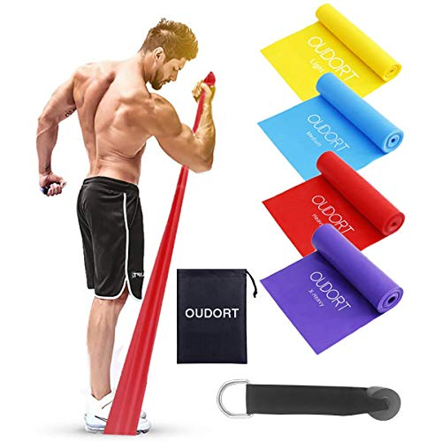 Oudort Bande Elastiche Fitness, Set di 4 1.8m Elastici Fitness Resistenza con Ancoraggio per Porta e 4 Livelli di Resistenza per Donna e Uomo, Esercizi Gambe e Glutei, Palestra, Pilates, Yoga