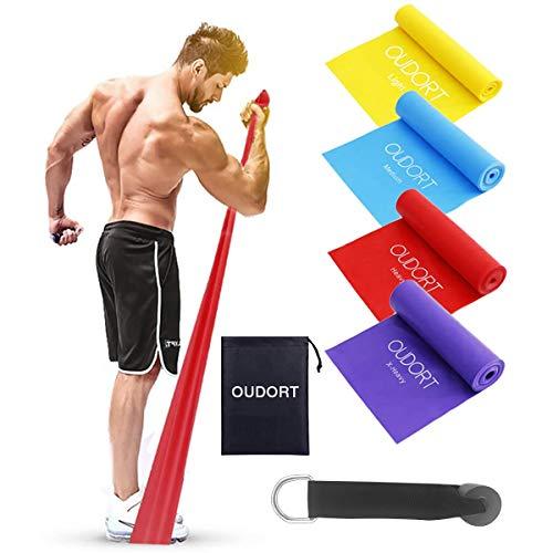 Oudort Bandas Elásticas Musculacion, Set de 4 1.8M Bandas de Resistencia Fitness...