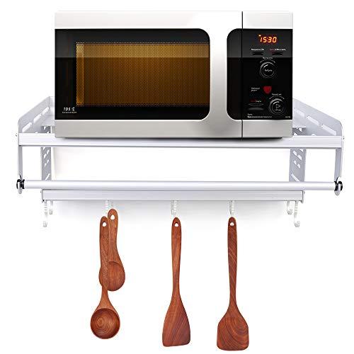 TFCFL - Supporto per forno a microonde, supporto per microonde, mensola da parete, per cucina (nero/argento)