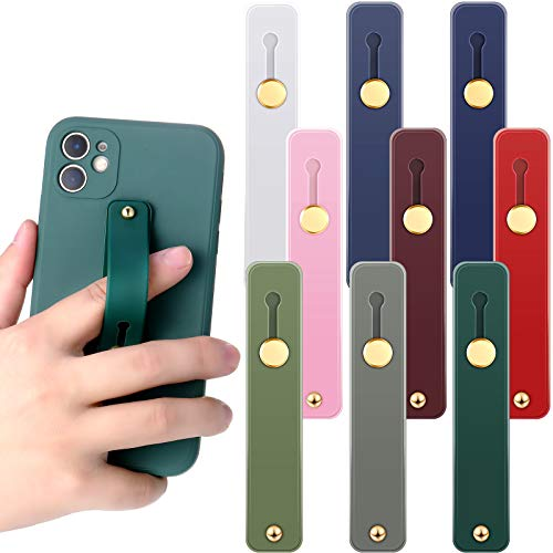 Weewooday 9 Pieces Phone Grip Holders Assorted Colors Telescopic Phone Finger Strap Stretch Phone Grips Band Loop Finger Kickstand for Smartphones Small Tablets (Classic Colors)