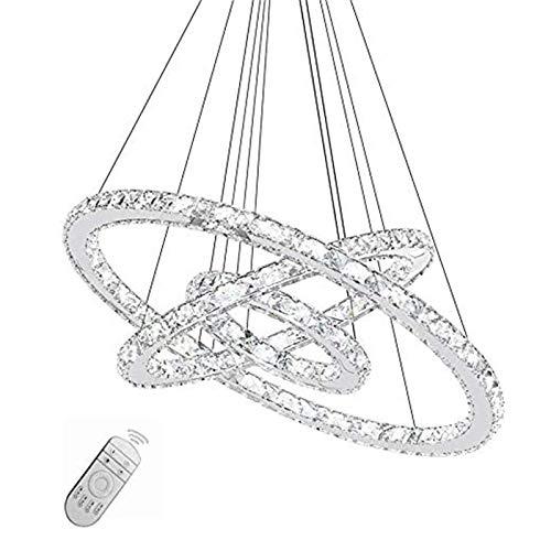 TFCFL LED Hängelampe Kristall - 3 Ringe Pendelleuchte mit Fernbedienung Dimmbar Hängelampe Kronleuchter 48W/72W Moderne Deckenlamp Esstisch Hängeleuchte für Esszimmer Wohnzimmer