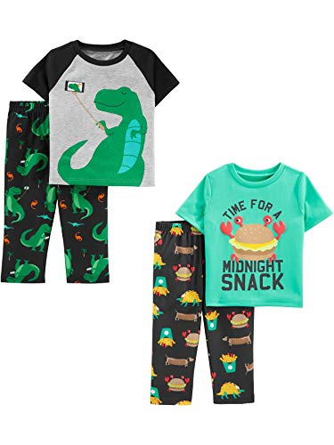 Simple Joys by Carter's Boys' Toddler 4-Piece Pajama Set (Short Sleeve Poly Top & Fleece Bottom), Dino/Midnight Snacker, 3T