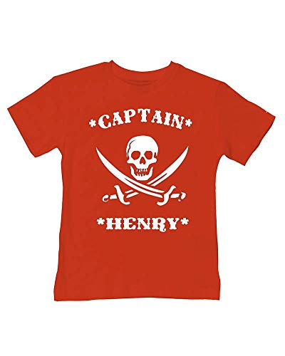 Ice-Tees T-shirt personnalisé Captain Pirate - Rouge - 2-3 ans