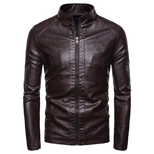 Herren Herbst Winter New Retro Solid Kragen Jacke Pure Long Sleeved Coat Lässige Einfarbige, Lange Lederjacke Mit Langärmeligem Kragen