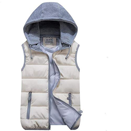 SDAFSA Chaleco acolchado para mujer, sin mangas, para invierno, ultraligero, de plumón, chaleco fino, resistente al viento, chaleco cálido para mujeres beige XXL (63/67kg)