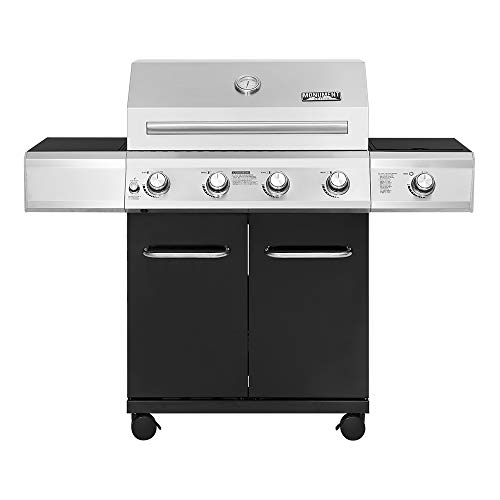 Monument Grills 13478 4-Burner Propane Gas Grill in Black with LED Controls and Side Burner