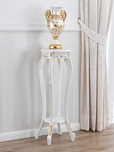 SIMONE GUARRACINO LUXURY DESIGN Sellette Ronde Gaila Style Baroque Décapé Petite Table Porte-Pots Ivoire et Feuille Or marbre crème