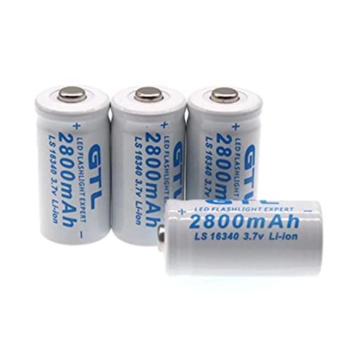 Li Battery3,7 V 2800Mah Lithium-Ion Battery 16340 Cr123A Rechargeable Batteries 3,7 V Cr123 for Laser Flashlight Le 2Pcs