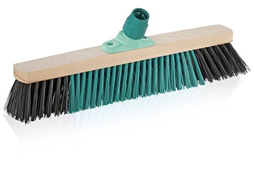 Leifheit Outdoor Besen Xtra Clean 50 cm mit X-Borsten für gründlicheres Fegen, Kehrbesen mit Borsten aus nassfestem Elaston, Feger mit Schraubgewinde, Besenkopf aus 100% Holz