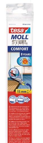 tesamoll For Textiles dörr tätningslist - Dörrlist för tätning av upp till 15 mm stora springor mellan karm och dörr vid kakelgolv och andra ojämna golv, för upp till 1 m breda dörrar - rostfritt stål