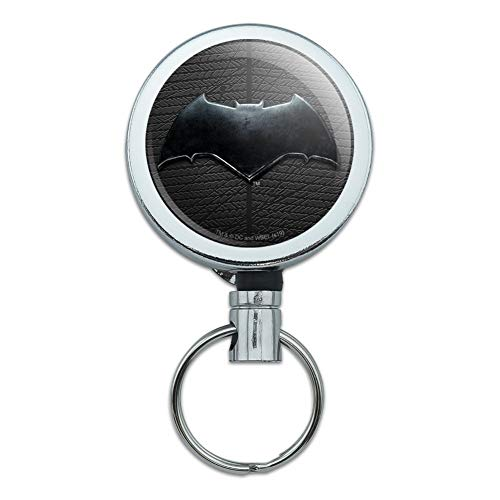 Justice League Movie Batman Logo Heavy Duty Metal Retractable Reel ID Badge Key Card Tag Holder with Belt Clip