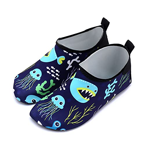 Gogokids Zapatos de agua para niños – Zapatillas de baño para niños y niñas, de secado rápido, zapatos deportivos para exteriores, de 3 a 6 años, color Gris, talla 27 EU