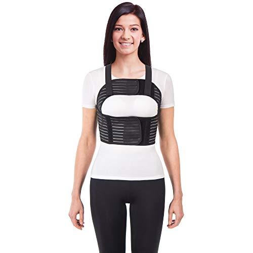 Frauen Brust-Korsett mit Brustgurt mit Hosenträger Ideal bei koronaren postoperativen gebrochenen Rippen und Brustbein Schwarz Large
