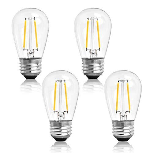 Hidixon 4 Pack S14 Replacement LED Filament Bulbs, 2W 2700K Warm White IP65 Waterproof Outdoor String Lights LED Vintage Edison Bulb, Glass E27 Screw Base Retro LED Light Bulbs