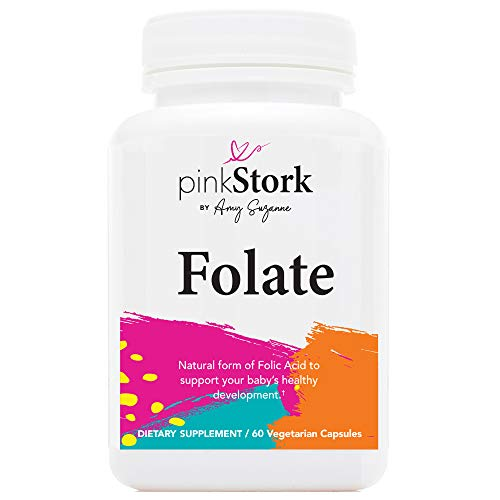 Pink Stork Folate: Methyl Folate - MTHFR Acid, Recommended Before and During Pregnancy, Women-Owned, 60 Capsules