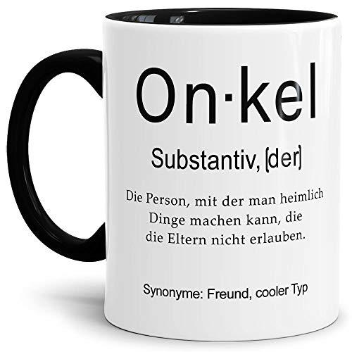Tassendruck Tasse mit Definition Onkel - Wörterbuch/Geschenk-Idee/Dictionary/Beruf/Job/Arbeit/Familie/Innen & Henkel Schwarz