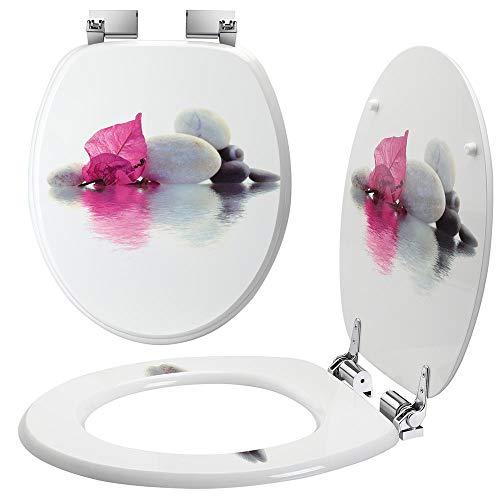 Bakaji Copriwater Universale con Stampa Serigrafata Copri Tavoletta WC per Bagno in Legno MDF con Cerniere Rettangolari in Lega di Zinco Design Moderno Dimensione 43,5 x 37,5 x 5 cm (Foglia)