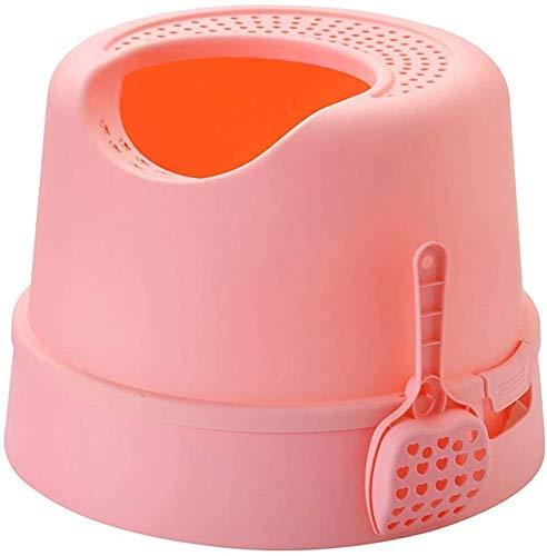 KLMNV; KLBVB zacht huisdier kat nest lade toilettas, koepel kunststof ruime Top Entry grote ruimte kat trainingssysteem hoog 35cm (kleur: wit), roze