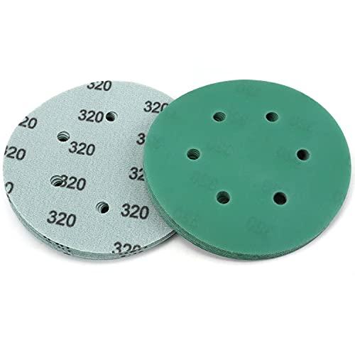 20PCS 6 Inch 6 Hole Green Film Sanding Discs 320 Grit Premium Film-Backed Hook & Loop Sanding Paper Dustless Power Random Orbital Sander Paper for Woodworking Auto Polishing Finishing by POLIWELL