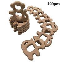 Wendysun純粋な天然木の歯のおもちゃの 200pcs 猿の木の歯モンテッソーリのおもちゃの木の歯リング有機ベビー歯ロープ手作りペンダントセットシャワーギフト (200pcs)