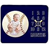 Baby Monthly Milestone Blanket Boy - Newborn Month Blanket Unisex Neutral Personalized Shower Gift Baseball Sports Nursery Decor Photography Background Prop with Frame Large 51''x40''