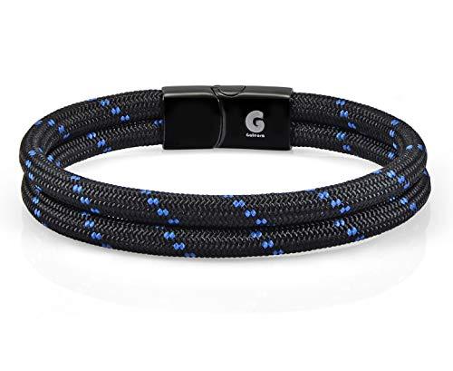 Pulsera Nautica de Cuerda - Trenzada para Hombre y Mujer Galeara design NOA (Noa Negro - azul, 175)