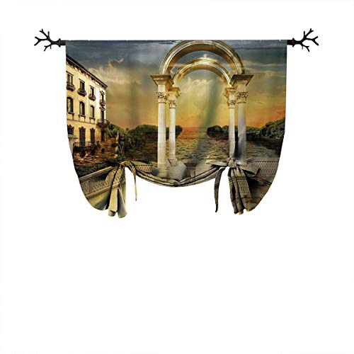 Blackout Roman Curtain,Adjustable Tie Up Shade Rod Pocket Panel-Suitable for Any Room Scene,W47 xL55 One Panel