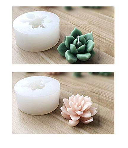Succulent Cactus Silicone Mold Candles Handmade Molds Soap Mold Fondant Chocolate Candy Mould for Party Wedding Cake Decorating (C)