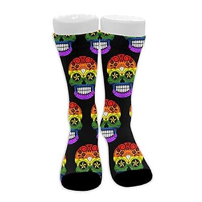 Soft Cushioned Crew Socks for Work, Basketball - Novelty Gay Pride Skull Compression Socks Novelty Socks for Men Women, Yoga, Athletic Running Socks Tactical Socks
