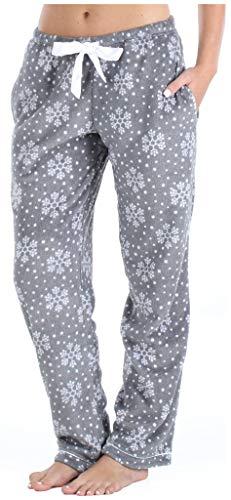 PajamaMania Women's Fleece Pajama Pants with Satin Drawstring, Snowflake, 2X