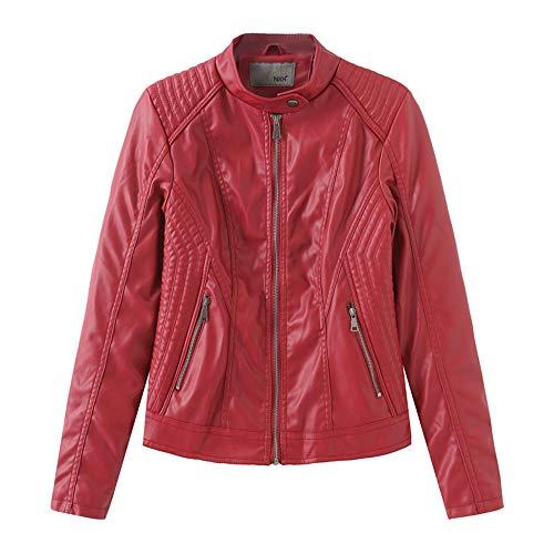 ZFQQ Damen Frühjahr und Herbst Mode Lederbekleidung Damen Lederjacke Slim Small Coat Damen Thin Motorradbekleidung Coat