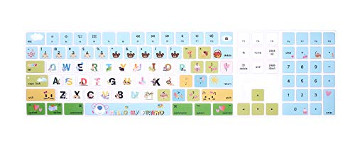 HRH Cartoon Animal World Silicone Keyboard Cover Keypad Skin for Magic Keyboard with Numeric Keypad A1843 MQ052LL/A Released in 2017/2018 (US Layout)