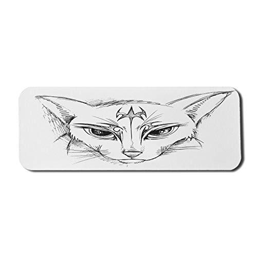 Sketch Art Computer Mauspad, Doodle Style Abstrakte Katze Gesicht Zeichnung Tier Porträt Bleistift Striche, Rechteck rutschfeste Gummi Mousepad große Holzkohle grau weiß