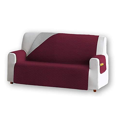 Unishop Funda de Sofa Protector de Sofá Cubre Sofá Bicolor Protector para Sofás Acolchado Reversible para Mascotas Muebles Polvo (Rojo, 3 Plazas)