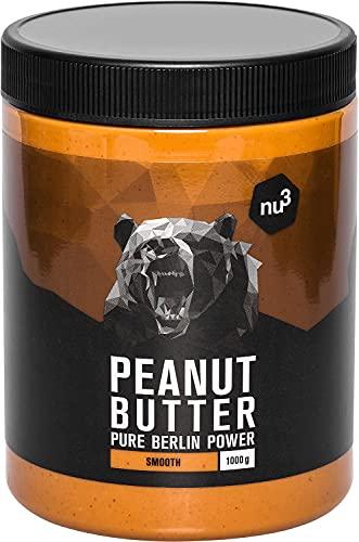 nu3 Erdnussbutter - Peanut Butter - 1 Kg pure natürliche Erdnussbutter, Erdnussmus Vegan & ohne Zucker, keine Zusätze von Salz, Öl oder Palmfett, 28g Protein pro 100g, glutenfrei & vielseitig nutzbar