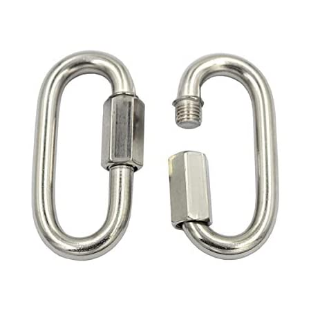 ZSPPPP Multifunctional 304 Stainless Steel Carabiner Oval Screwlock Quick Link Lock Ring Hook M5 Pack of 20