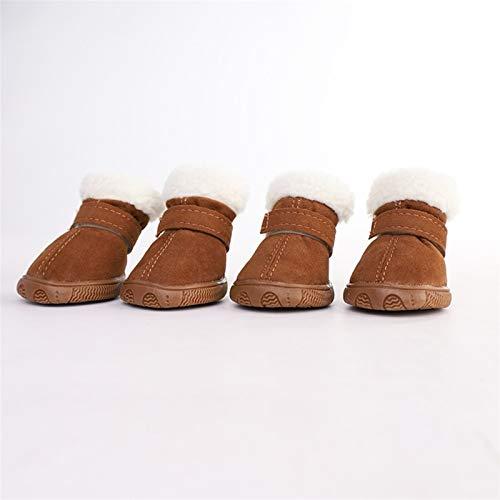 SHENGHUI Hundeschuhe Teddy 4 Haustier Schuhe Welpenschuhe Kleine Hunde Bichon Herbst und Winter Baumwolle Schuhe Atmungsaktiv Fußabdeckung Schneeschuhe (Color : Brown, Size : No. 2)
