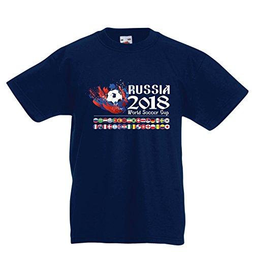 lepni.me Camiseta para Niño/Niña Copa Mundial de Rusia 2018, Las 32 Banderas Nacionales del Equipo de fútbol (9-11 Years Azul Oscuro Multicolor)
