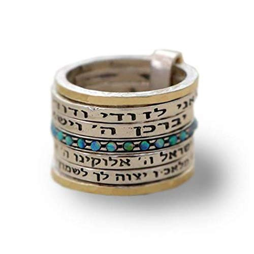 Opal Ring Gold Wedding Band, Stackable Spinner Message ring