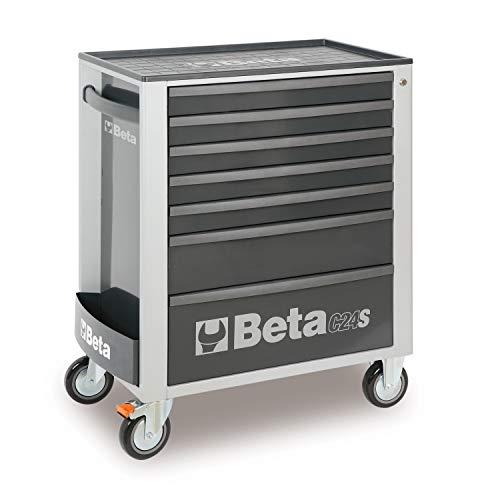 Beta C24S/7 Werkzeugwagen mit sieben Schubladen, Leerer Werkstattwagen für Werkzeug (großer Werkzeugkasten auf Rollen, mit hochwiderstandsfähiger ABS-Arbeitsplatte, mit Zentralverriegelung), Grau