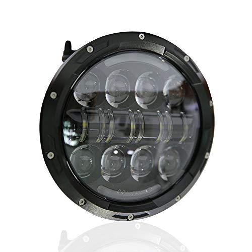 Osram Angel Eyes Angel Eyes Led-koplamp, 80 W, 7 inch, met witte DRL en barnsteenkleurig knipperlicht voor motorfiets, Harley Davidson en enkele auto's Blanco Y Gris