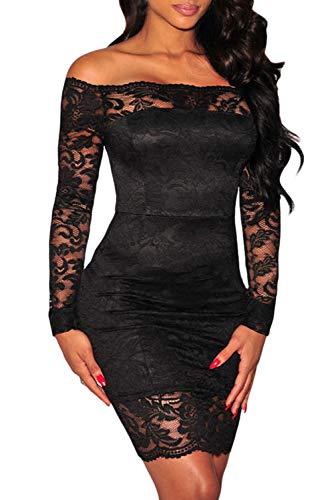 Shawhuwa Womens Floral Lace Sheer Off Shoulder Bodycon Mini Dress (X-Small, Black 7)