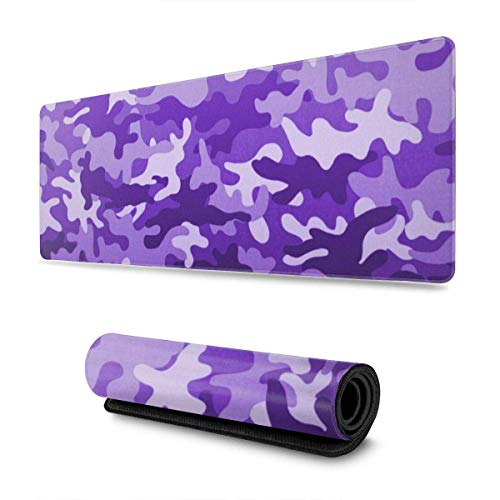 Purple Camouflage Design Pattern XXL XL Large Gaming Mouse Pad Mat Long Extended Mousepad Desk Pad Non-Slip Rubber Mice Pads Stitched Edges (31.5x11.8x0.12 Inch)