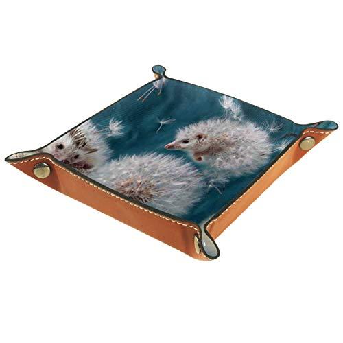 YATELI Kleine Aufbewahrungsbox,Herren-Valet-Tablett,Schwimmende Tiere,Leder Catchall Organizer für Coin Box Key Schmuck